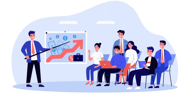 Couch presenting successful business model to employees. Leader pointing at growth chart on board flat vector illustration. Presentation, success concept for banner, website design or landing web page